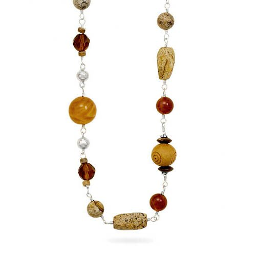 Jewelryweb 34 Inch Sterling Silver Wood Black Onyx Tigers Eye Carnelian and Glass Multisize Bead Necklace