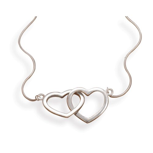 17 InchRhodium Plated Sterling Silver Snake Chain Necklace With 2 Linked Polished Hearts