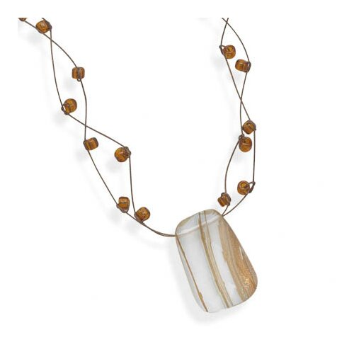 Jewelryweb Sterling Silver 16 Inch+2 InchExtention Double Strand Necklace With Rutilated Quartz Pendant