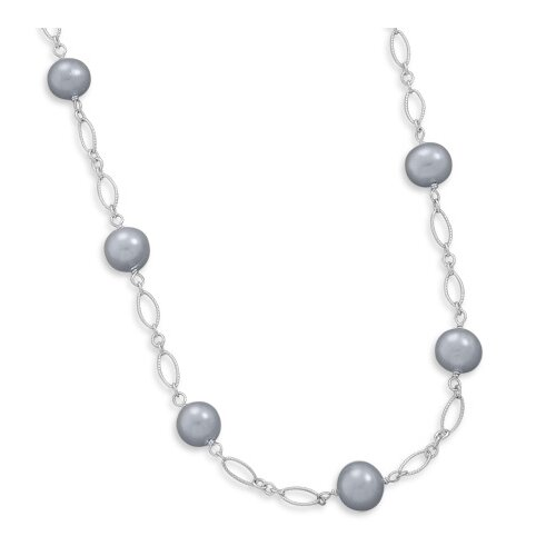 Sterling Silver 16+1.5 Silver Freshwater Cultured Pearl Necklace