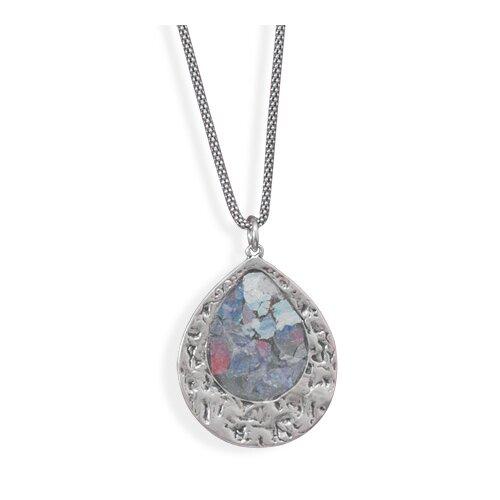 Jewelryweb Sterling Silver 17 Inch Oxidized Roman Glass Necklace