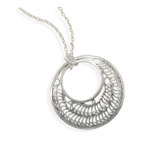 18 InchOxidized Sterling Silver Necklace 45mm Cut Out Design Circle Pendant Lobster Clasp Closure