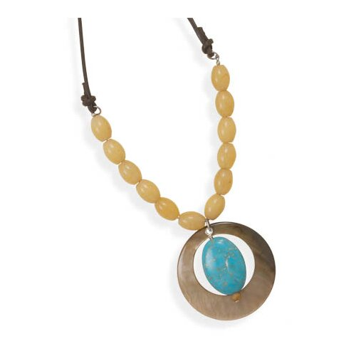 Jewelryweb Sterling Silver 33 InchLeather With Multistone Necklace