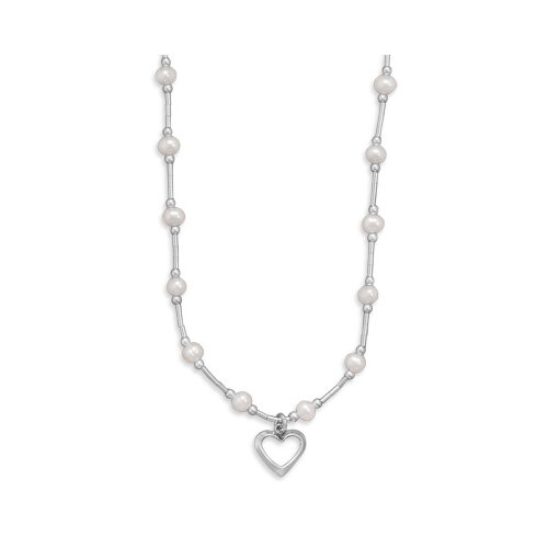 Jewelryweb Sterling Silver 14 Inch+2 Inch Extention Freshwater Cultured  Pearl Necklace Open Heart Drop - 14 Inch
