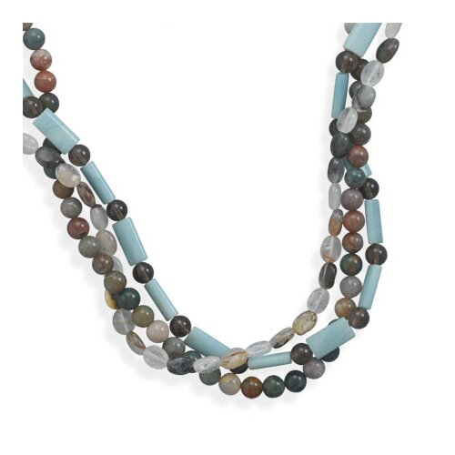 Jewelryweb Sterling Silver 16 Inch+ 2 InchTriple Strand Multistone Necklace - 16 Inch