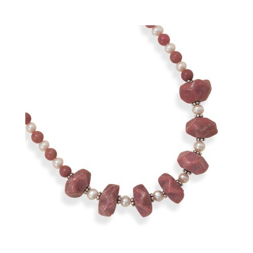 Jewelryweb Sterling Silver 16.5 Inch+2 InchRhodocrosite and Freshwater Cultured Pearl Necklace - 17 Inch