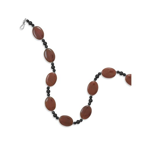 Jewelryweb 21 InchSterling Necklace 21mmX 29mmCarnelian Beads 6mmBlack Onyx 8mmBlack Onyx Beads - 21 Inch