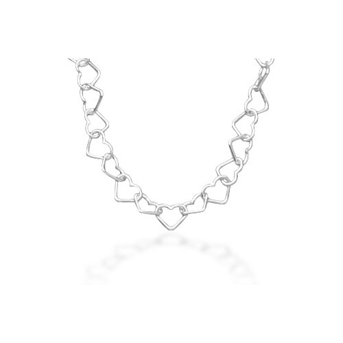 Jewelryweb Sterling Silver 18 InchGauge Heart Chain Necklace With 6mmHearts and a Lobster Clasp Closure