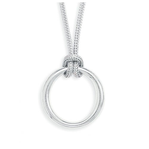 17 Inch2mmRhodium Plated Mesh Necklace With 27.5mmPolished Ring Drop Lobster Clasp Closure