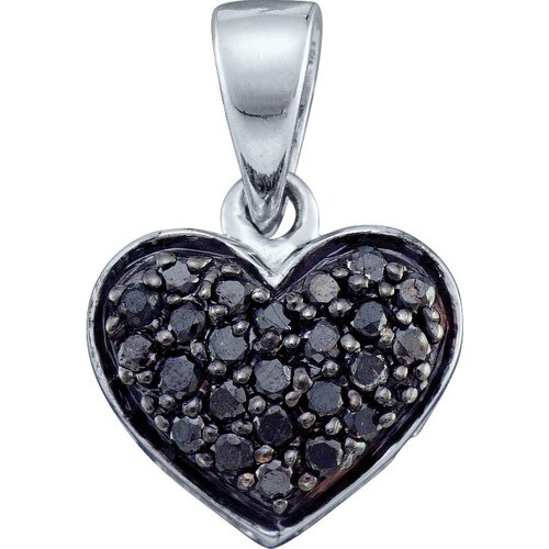 10k White Gold 0.24 Dwt Diamond Heart Pendant