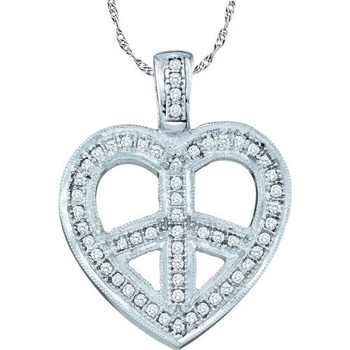 10k White Gold 0.15 Dwt Diamond Heart Pendant