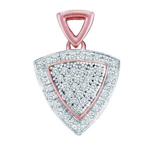 Jewelryweb 10k White Gold 0.15 Dwt Diamond Tri Micro Pave Set Pendant