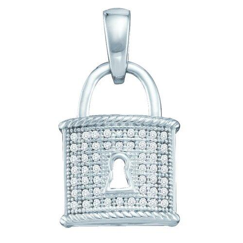 Jewelryweb 10k White Gold 0.12 Dwt Diamond Micro Pave Set Fashion Pendant