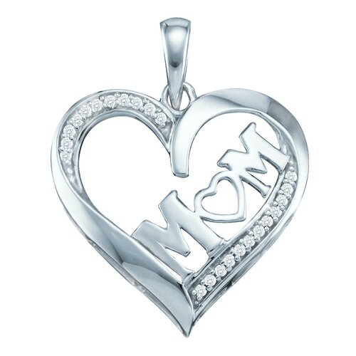 10k White Gold 0.08 Dwt Diamond Heart Pendant