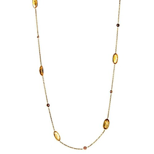 14k Yellow Citrine and Garnet - 18 InchNecklace