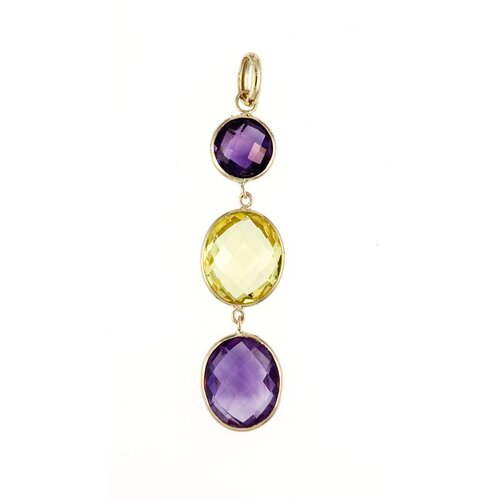 14k Yellow Gold PendantAmethyst and Lemon Lemon Quartz