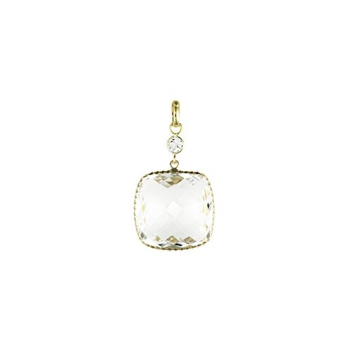 Jewelryweb 14k Yellow Gold PendantCrystal Quartz Square Drop
