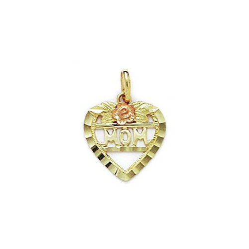 Jewelryweb 14k Yellow and Rose Gold Mom Pendant- Measures 19x14mm- 19 Inch