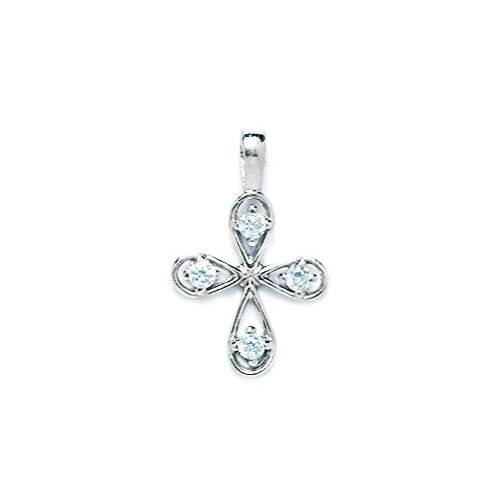 14k Gold CZ Cross Pendant