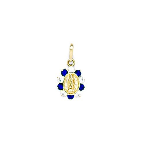 Jewelryweb 14k Yellow Gold CZ Small Virgin Mary Pendant - Measures 17x9mm - 17 Inch