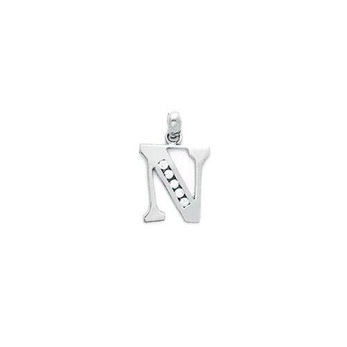 Jewelryweb 14k Gold CZ Small Initial N Pendant