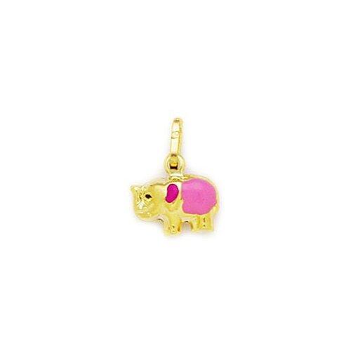 Jewelryweb 14k Yellow Gold Pink Enamel Elephant Pendant- Measures 14x11mm- 14 Inch