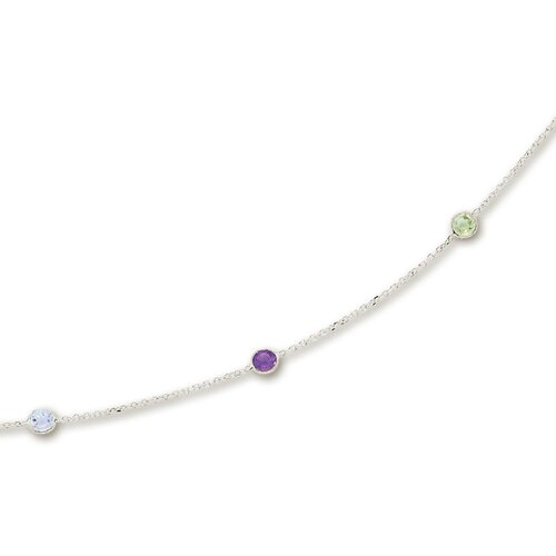 14k White Besel Set Gemstone Necklace