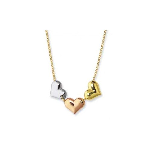 Jewelryweb 14k Tricolor Triple Heart Necklace - 17 Inch