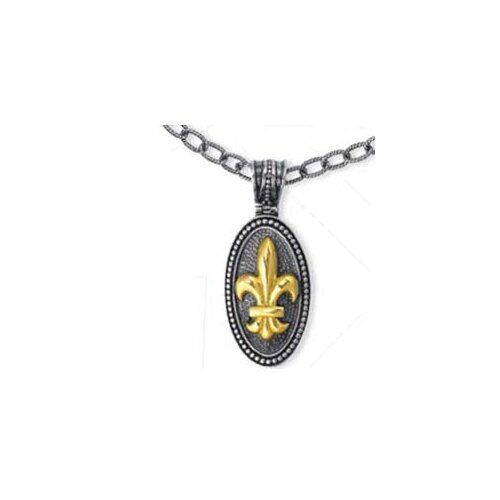 Jewelryweb Sterling Silver and 18k Yellow Fleur De Lis Drop Pendant