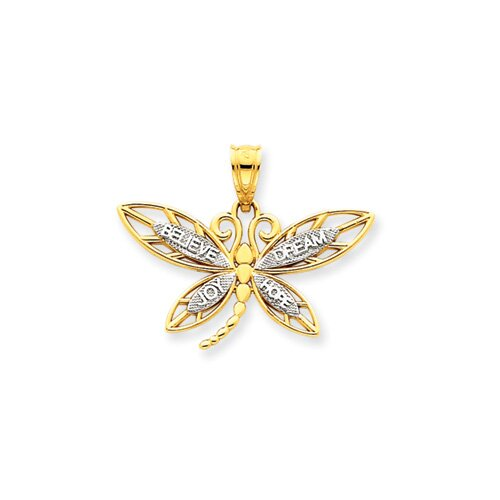 14k and Rhodium Inspirational Dragonfly Pendant