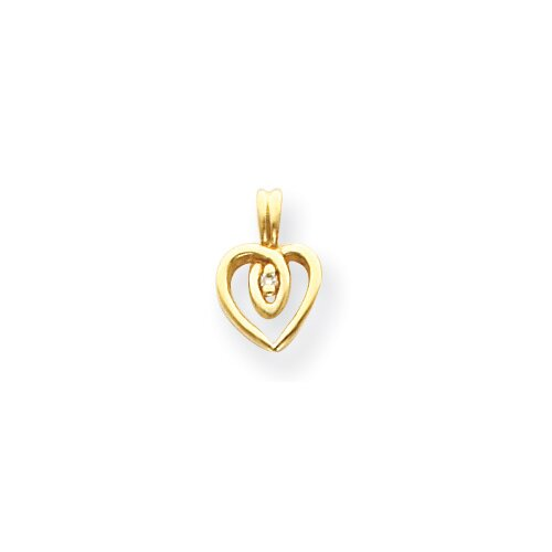 Jewelryweb 14k Diamond heart Pendant- Measures 12x8mm