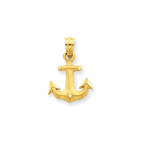 Jewelryweb 14K Diamond-Cut Anchor Pendant