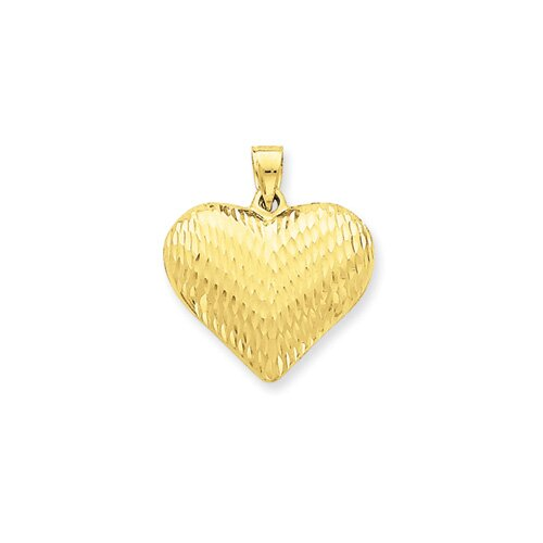 Jewelryweb 14k Diamond-Cut Puffed Heart Pendant