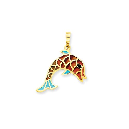 14k Enameled Aqua and Multicolor Dolphin Pendant