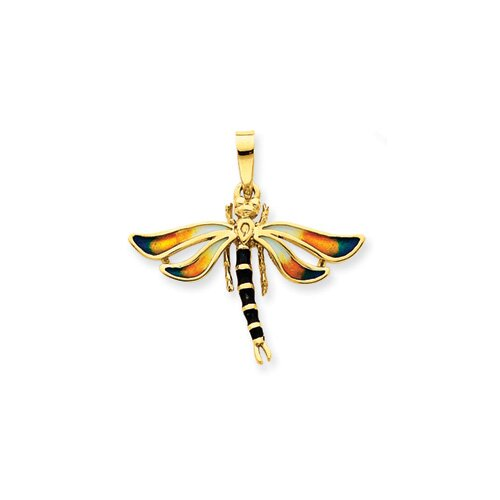 14k Enameled Blue and Gold Dragonfly Pendant