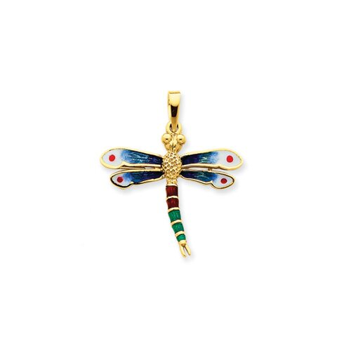 14k Enameled Blue and Green Dragonfly Pendant