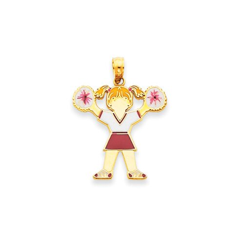 Jewelryweb 14k Enameled Girl Cheerleader Pendant