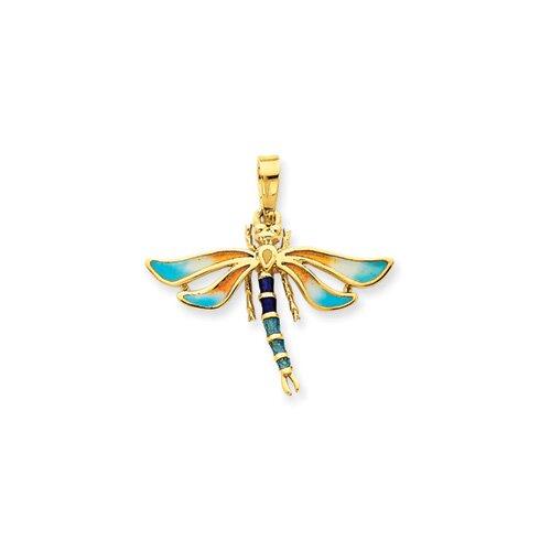 14k Enameled Light and Dark Blue Dragonfly Pendant