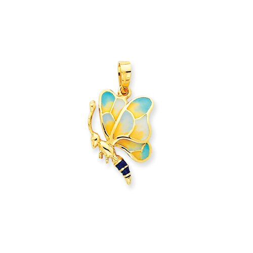 14k Enameled Yellow and Aqua Butterfly Pendant