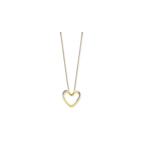 Jewelryweb 14K Fancy Heart Necklace - 18 Inch- Spring Ring