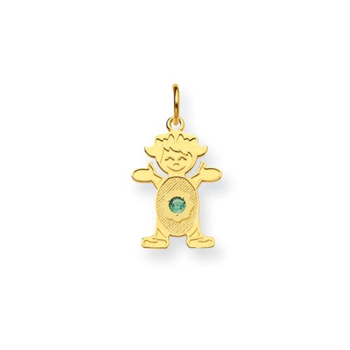 14K Girl 2.5mmSynthetic Birthstone Pendant