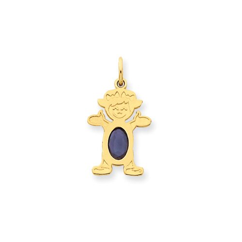 14K Girl Oval Genuine Sapphire September Pendant