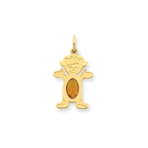 14K Girl Oval Genuine Citrine November Pendant