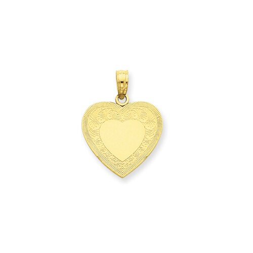 Jewelryweb 14K Heart Pendant- Measures 16.1x21.4mm