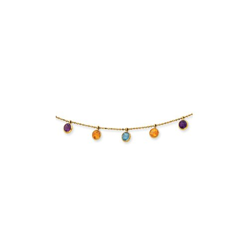 14K Multi-color Gemstone Necklace - 18 Inch- Spring Ring