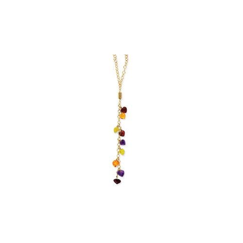 14K Multi-color Heart Gemstones Necklace - 18 Inch- Lobster Claw