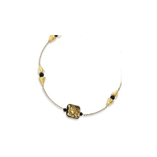 Jewelryweb 14k Murano Glass Bead and Onyx Necklace - 16 Inch