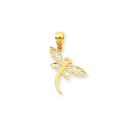 14k Polished Dragonfly Pendant