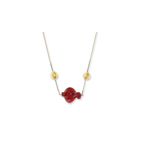 14k Red and Gold Murano Glass Bead Necklace - 16 Inch