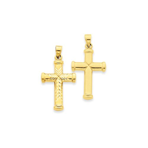 Jewelryweb 14k Reversible Diamond-Cut Cross Pendant- Measures 33.8x39.8mm
